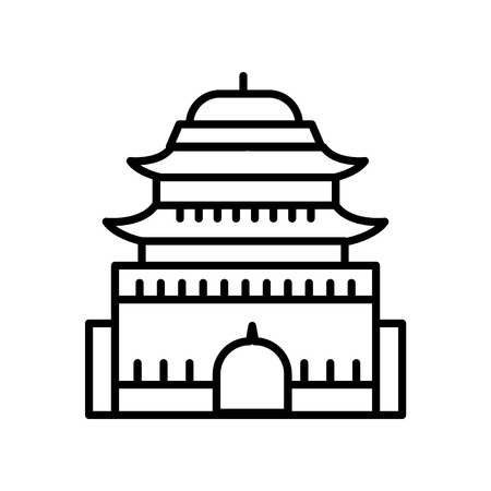 Ming Dynasty Tombs icon vector isolated on white background, Ming Dynasty Tombs transparent sign , line or linear sign, element design in outline style