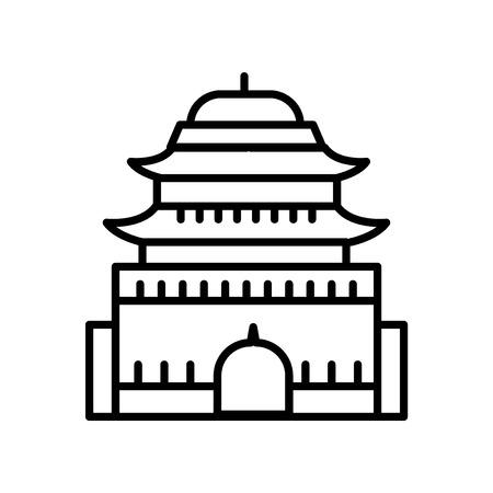 Vecteur d'icône de tombes de la dynastie Ming isolé sur fond blanc, signe transparent de tombes de la dynastie Ming, ligne ou signe linéaire, conception d'élément dans le style de contour