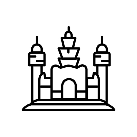 Angkor Wat icon vector isolated on white background, Angkor Wat transparent sign , line or linear sign, element design in outline style Иллюстрация