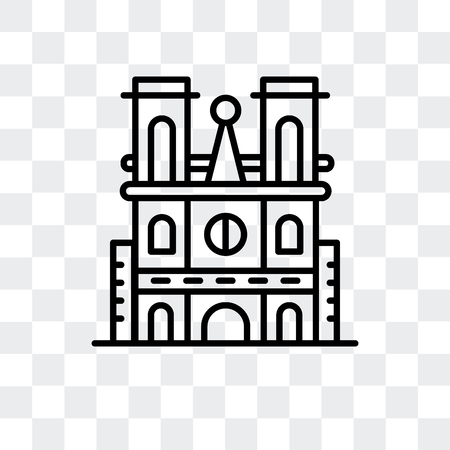 Notre Dame Cathedral vector icon isolated on transparent background, Notre Dame Cathedral logo concept