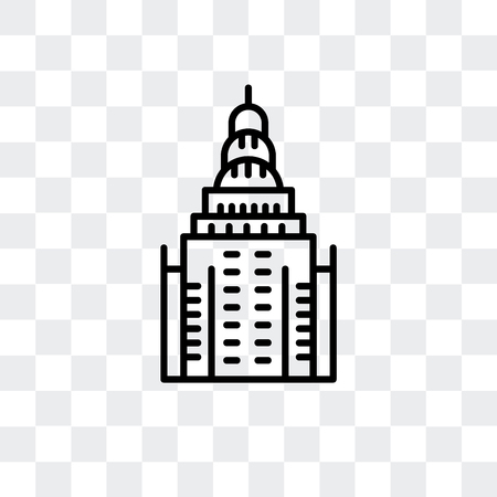 Chrysler Building vector icon isolated on transparent background, Chrysler Building logo concept
