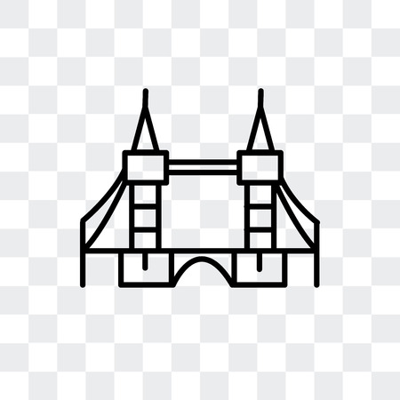 Tower Bridge vector icon isolated on transparent background, Tower Bridge logo concept