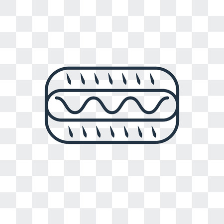 Hot dog vector icon isolated on transparent background, Hot dog logo concept Vectores