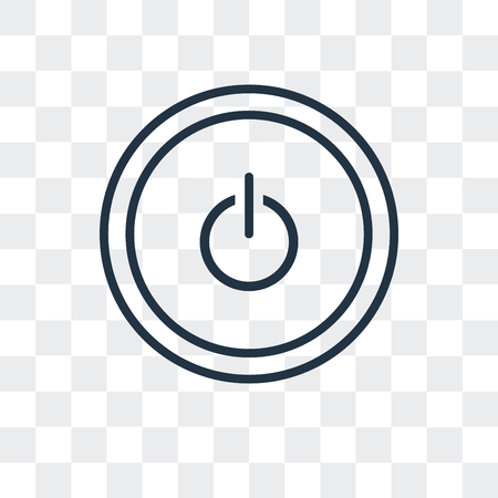 Power button vector icon isolated on transparent background, Power button logo concept