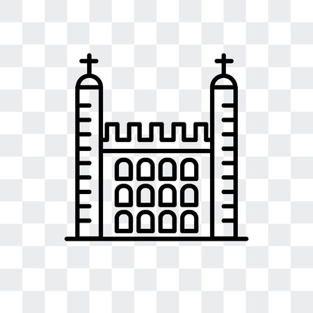 Tower of London vector icon isolated on transparent background, Tower of London logo concept 向量圖像