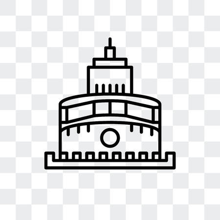 Castle of the Holy Angel in Rome vector icon isolated on transparent background, Castle of the Holy Angel in Rome logo concept