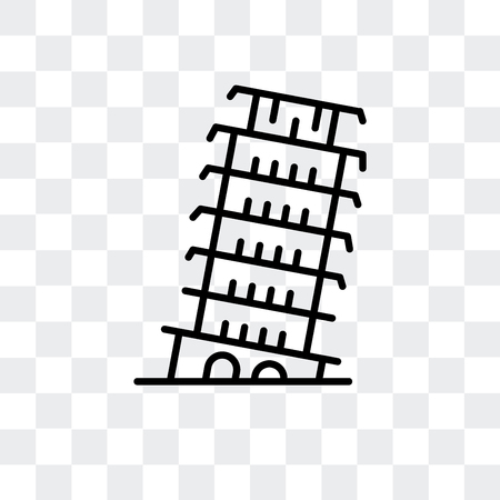Tower of Pisa vector icon isolated on transparent background, Tower of Pisa logo concept