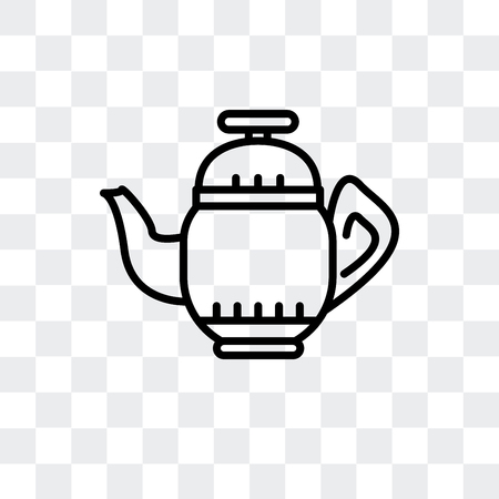 Teapot vector icon isolated on transparent background, Teapot logo concept Vettoriali
