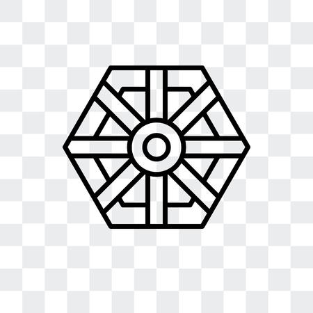 Pa kua mirror vector icon isolated on transparent background, Pa kua mirror logo concept Ilustração