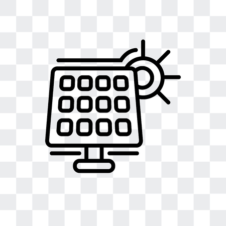 Solarpanel-Vektorikone lokalisiert auf transparentem Hintergrund, Solarpanel-Logo-Konzept