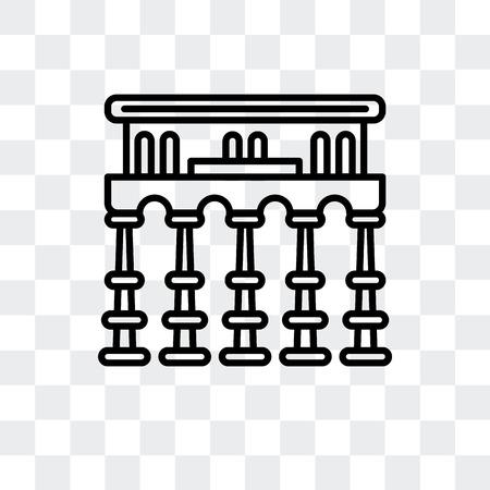 Segovia aqueduct vector icon isolated on transparent background, Segovia aqueduct logo concept Illustration