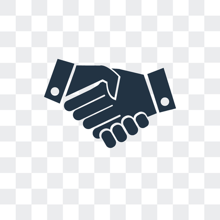 Hand shake vector icon isolated on transparent background, Hand shake logo concept Stock Illustratie