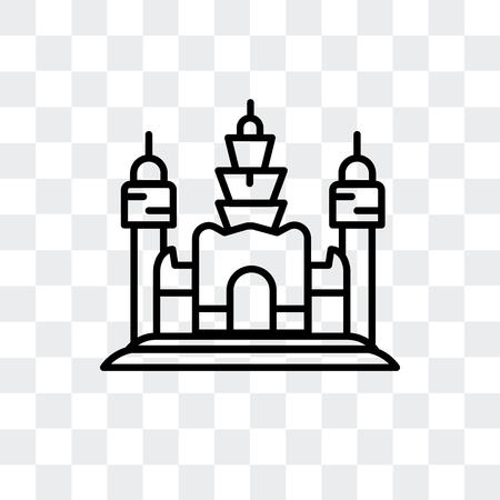 Icône de vecteur d'Angkor Wat isolé sur fond transparent, concept logo Angkor Wat Logo
