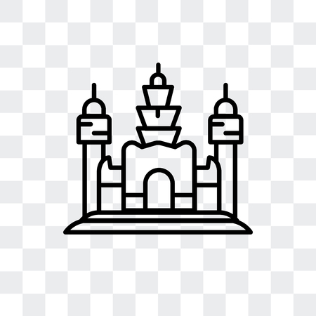 Angkor Wat vector icon isolated on transparent background, Angkor Wat logo concept