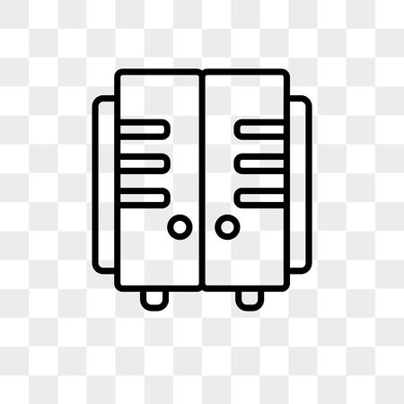 Icône de vecteur de casiers isolé sur fond transparent, concept logo casiers
