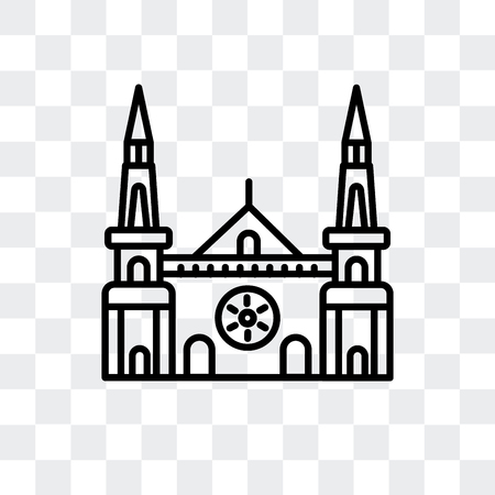 Chartres Cathedral vector icon isolated on transparent background, Chartres Cathedral logo concept Illustration