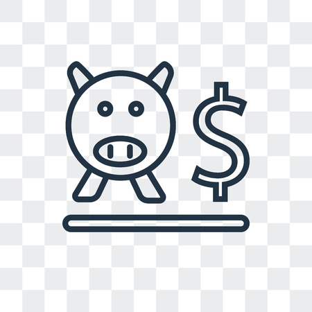 Piggy bank vector icon isolated on transparent background, Piggy bank logo concept Stock Illustratie