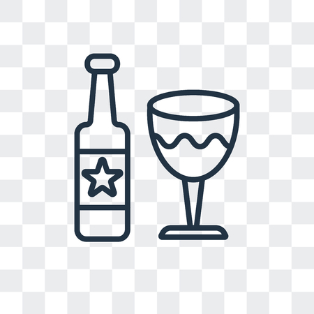 Wine vector icon isolated on transparent background