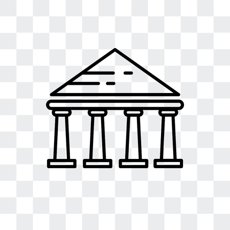 Parthenon vector icon isolated on transparent background, Parthenon logo concept Vettoriali