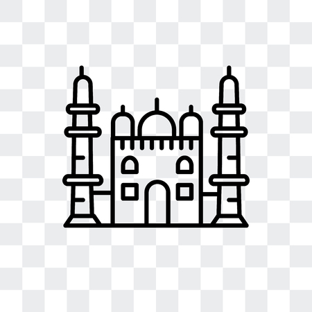 Taj Mahal vector icon isolated on transparent background, Taj Mahal logo concept