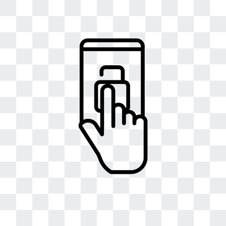 Icône de vecteur d'écran tactile isolé sur fond transparent, concept logo écran tactile Logo