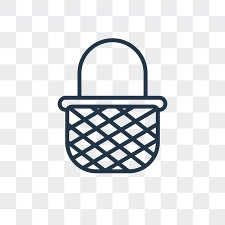 Picnic basket vector icon isolated on transparent background, Picnic basket logo concept Illustration