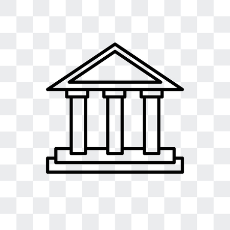 Parthenon vector icon isolated on transparent background, Parthenon logo concept Çizim