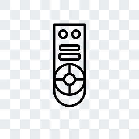 Remote control vector icon isolated on transparent background, Remote control logo concept Vectores