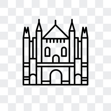 Milan Cathedral vector icon isolated on transparent background