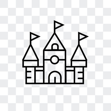 Disneyland Paris castle vector icon isolated on transparent background