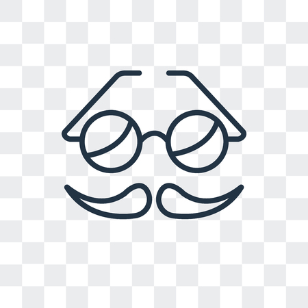 Mustache vector icon isolated on transparent background