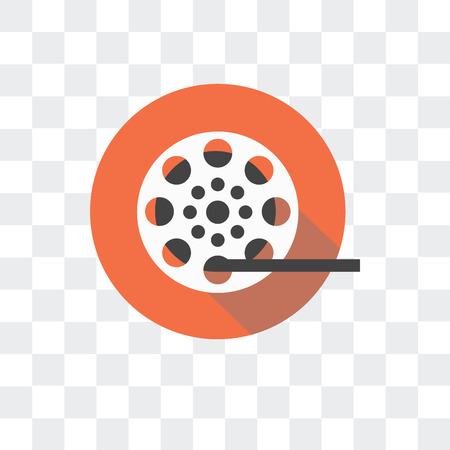 Film reel vector icon isolated on transparent background 일러스트