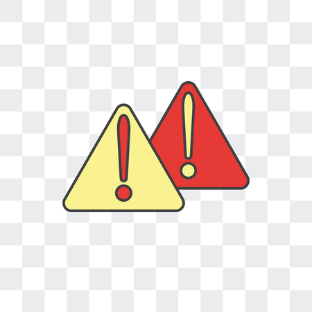 Warning vector icon isolated on transparent background