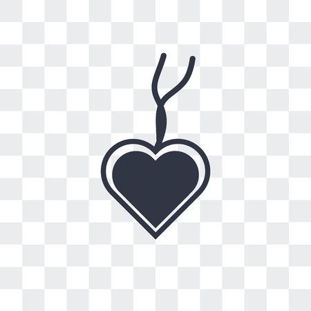 Icône de vecteur pendentif coeur isolé sur fond transparent Vecteurs