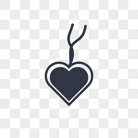 Heart pendant vector icon isolated on transparent background