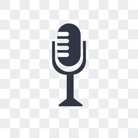 Vintage Mic vector icon isolated on transparent background Illustration
