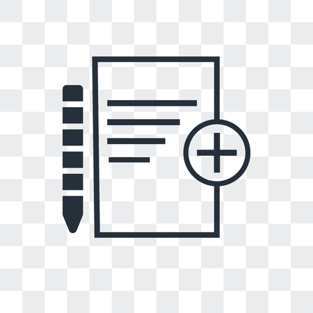 Add new document vector icon isolated on transparent background Stock Illustratie