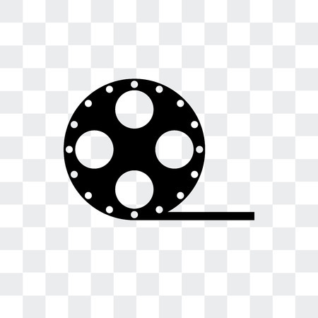 Film roll side view vector icon isolated on transparent background