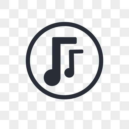 Musical note vector icon isolated on transparent background