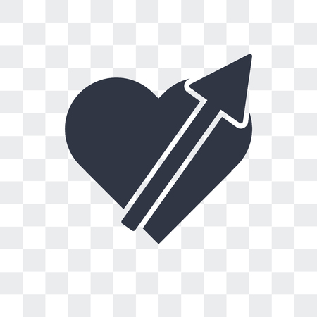 Heart pierced by an arrow vector icon isolated on transparent background