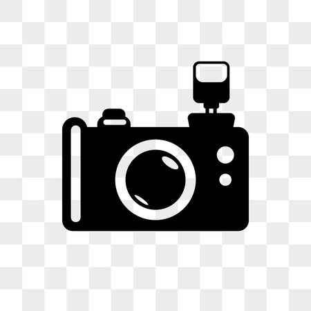 Reflex photo camera vector icon isolated on transparent background