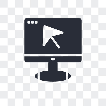 Monitor with mouse cursor vector icon isolated on transparent background, Monitor with mouse cursor logo concept Vettoriali