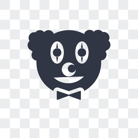 Clown head vector icon isolated on transparent background, Clown head logo concept
