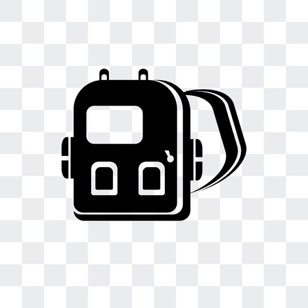 Backpack vector icon isolated on transparent background, Backpack logo concept