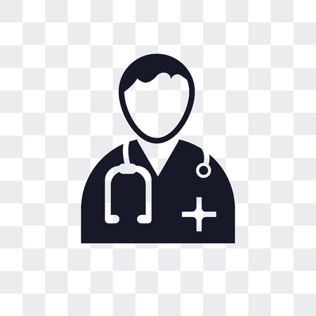 Doctor vector icon isolated on transparent background, Doctor logo concept Illustration