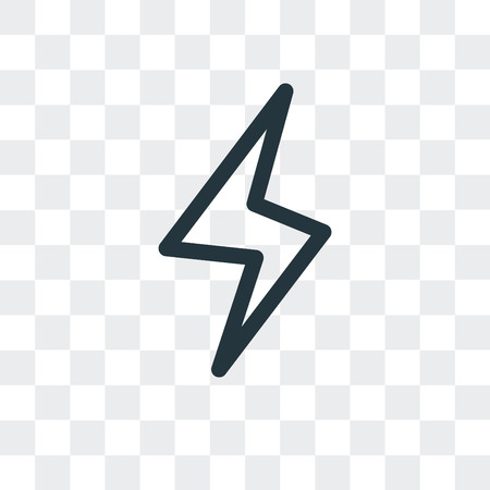 Lightning vector icon isolated on transparent background, Lightning logo concept Vectores