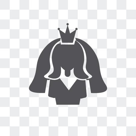 Bride avatar vector icon isolated on transparent background, Bride avatar logo concept Illustration