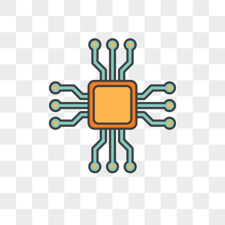 Icône de vecteur de Microchip isolé sur fond transparent, concept logo Microchip