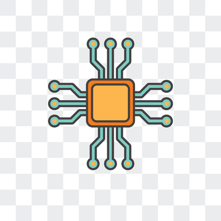 Microchip vector icon isolated on transparent background, Microchip logo concept
