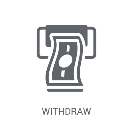 Withdraw icon. Trendy Withdraw logo concept on white background from Cryptocurrency economy and finance collection. Suitable for use on web apps, mobile apps and print media.